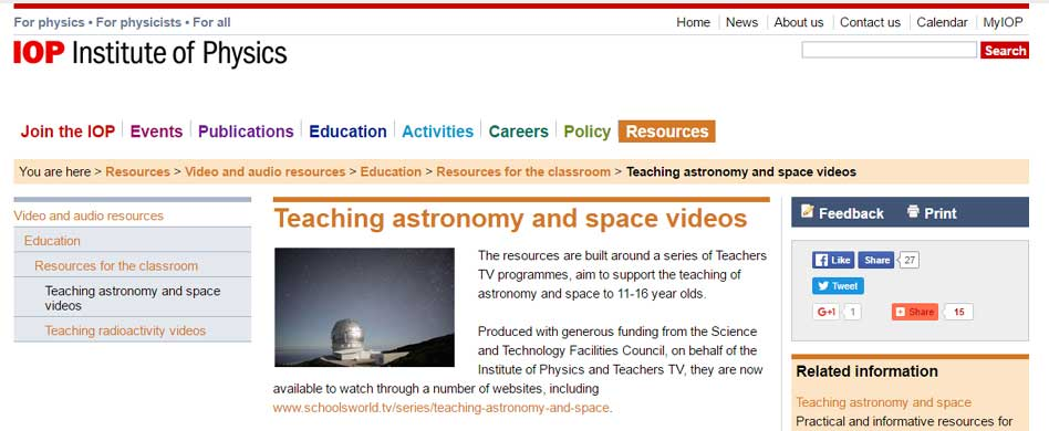 Teaching astronomy space vi